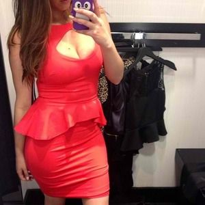 bebe Dresses & Skirts - Neon Red Bebe Peplum