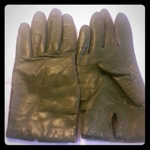 Grey Cashmere Lined Leather Gloves