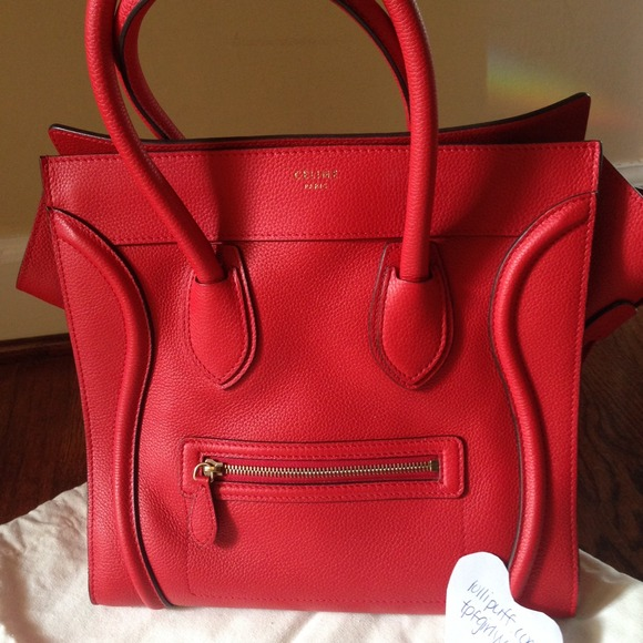 6f38ac98fdb Like NEW CELINE luggage mini coquelicot red bag