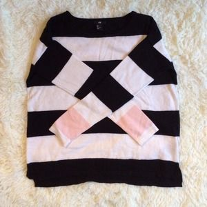 Sweaters - Black white pink stripe oversized sweater