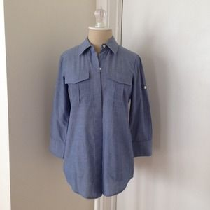 Theory Tops - Theory Chambray 3/4 sleeve button up - Sz P