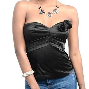 Have&Have Tops - Black satin rosette bustier corset tube top NWT S