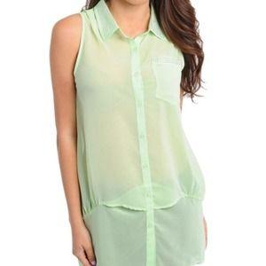 Pistachio mint green crystal sheer top s