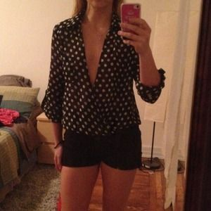 Tops - Black and white polka dot blouse