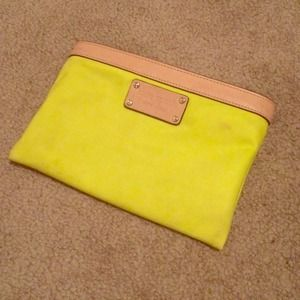 Kate Spade neon yellow pouch/pencil case