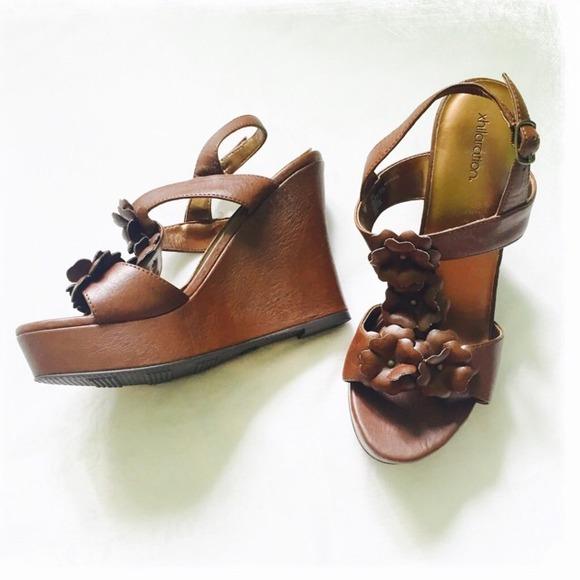 46 xhilaration shoes nwt brown flower xhilaration