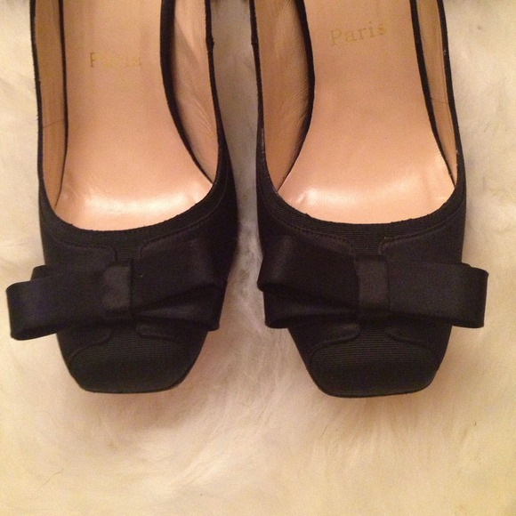 Christian Louboutin Shoes - Classic Christian Louboutin Black Satin Bow Pumps
