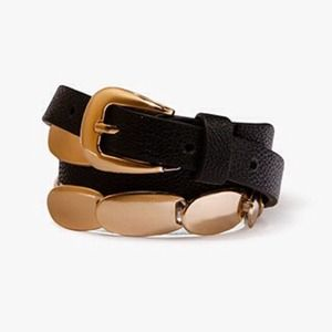 Accessories - New Gold Link Metal Black Belt