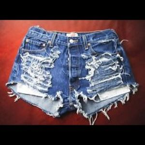 Shredded high waisted shorts