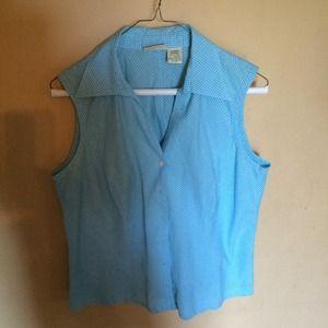 Large blue sleeveless blouse