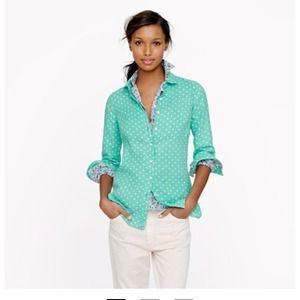Jcrew perfect shirt in linen dot