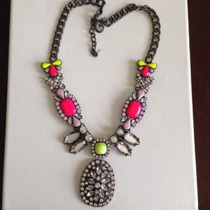 Neon crystals gunmetal statement necklace
