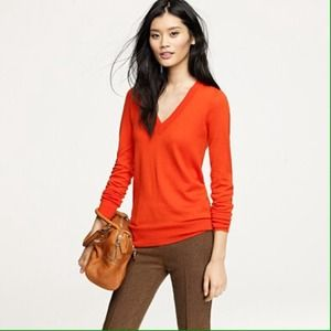 J. Crew Sweaters - Orange vneck sweater mint condition