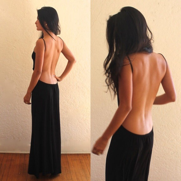Shop sexy black backless dress with