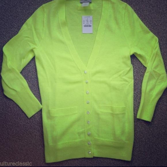 J Crew Sweaters Nwt Jcrew Cashmere Cardigan Neon Yellow Poshmark