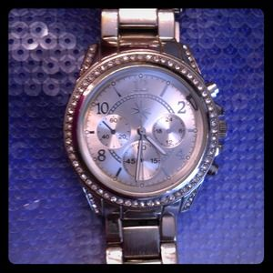 ShoeDazzle Silver Watch ***rhinestone bling bezel*
