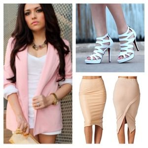 Other - Bundle (pink blazer, white heels & pencil skirt)