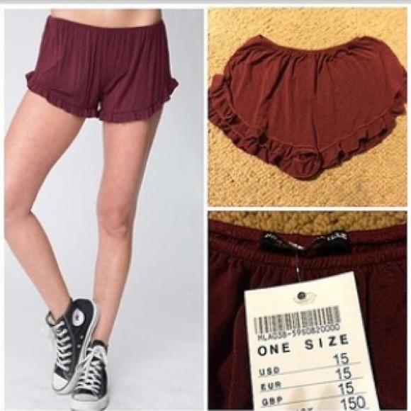 Maroon Flowy Shorts