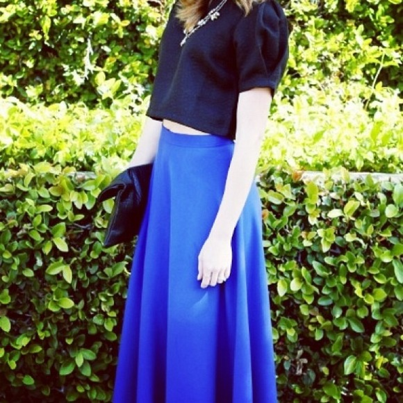 vintage  Skirts - Cobalt blue midi skirt