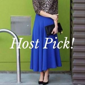 Cobalt blue midi skirt