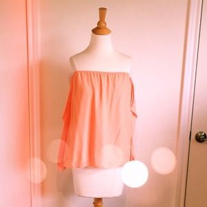 Tops - Romantic Peach Coral Off The Shoulder Top