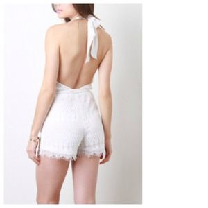 Dresses & Skirts - White Lace Halter Romper + Sash Belt & Pockets