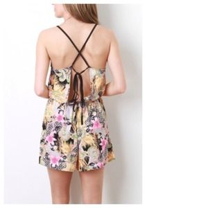 Dresses & Skirts - Island Girl Floral Paisley Romper + Open Back