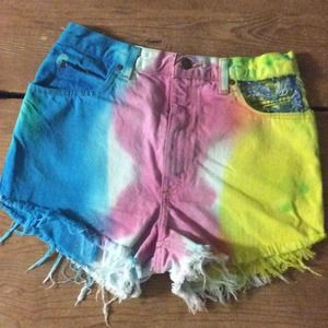 Spring flowers high waist shorts