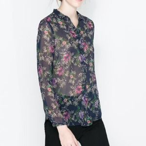 💕PM EDITOR PICK💕Zara floral sheer blouse