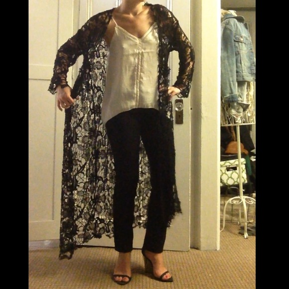 38% off H&M Tops - Long black lace cardigan from Lindsay's closet ...