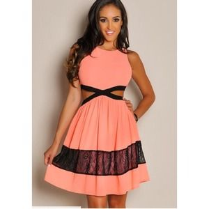 Coral Side Cut Out Lace Dress