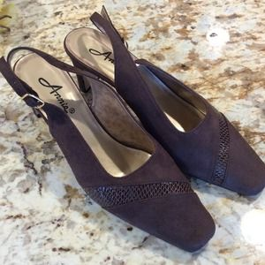 """New Faux Suede Brown Backless Pumps by """"Armie"""""""