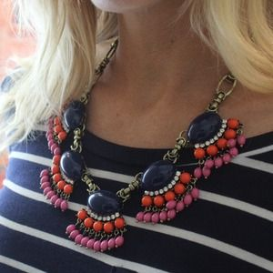 Navy fan fringe necklace