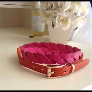 Pink and orange colorblock braided belt
