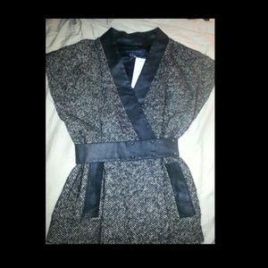 Leather trim vest