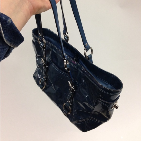 83% off Coach Handbags - Coach vintage blue patent leather tote ...