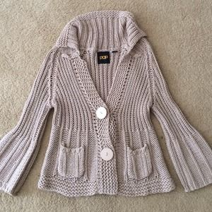 Population Sweaters - Population Beige Button Quarter Sleeve Cardigan