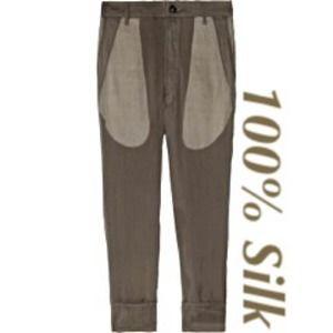 Rick Owens Pants - Rick Owens Silk Crepe Khaki Cropped Pants/Trousers