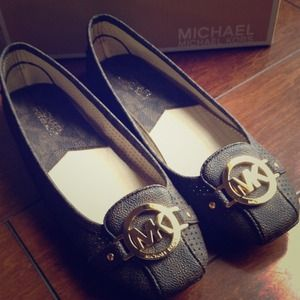 b589afeba0ebf5 michael kors black fulton moccasin flats wedge sandals dillards ...
