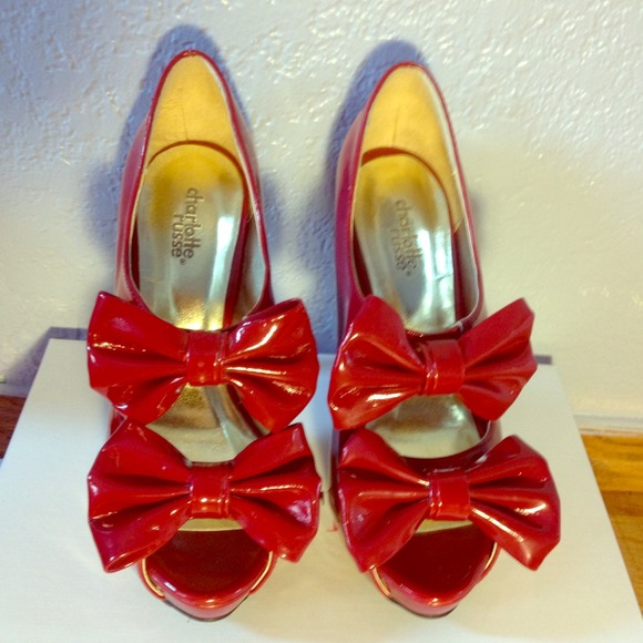 Charlotte Russe Shoes - Red Double Bow Heels