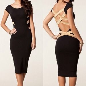 IN STOCK M, L Black open back dress