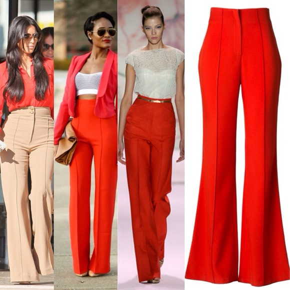 99% off Pants - SMALL- Red High Waist Wide-leg pants from Aishah's ...