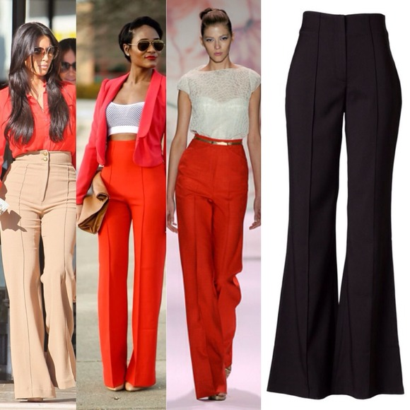 100% off Pants - MEDIUM- Red High Waist Wide-leg Trousers from ...