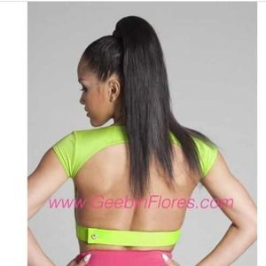 Geebin lime leather back crop top new with tags