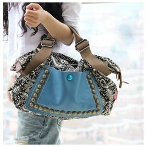 Handbags - Retro Canvas Riveted Handbag