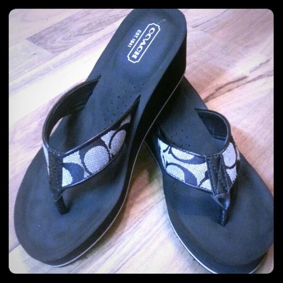 Coach Shoes  Wedge Flip Flop Sandals 65  Poshmark-8716