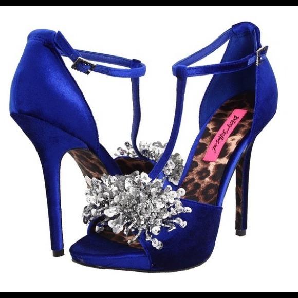 Betsey Johnson Shoes - Betsey Johnson Impress Blue T-Strap Sandals 50acad106