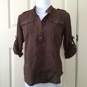 A.N.A. Tops - Brown Cotton Military Style Top with Epaulets PS
