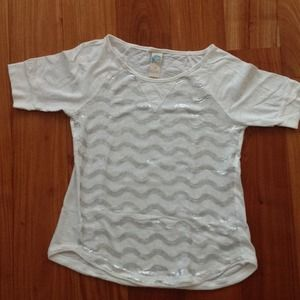 Anthropologie white top embroiderd with sequins