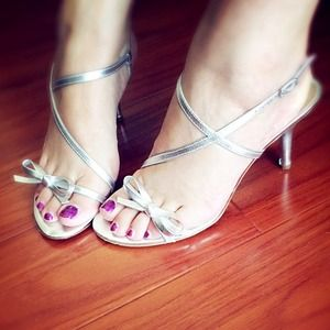 Auth Via Spiga Silver Leather Sandal Heels Worn 1s